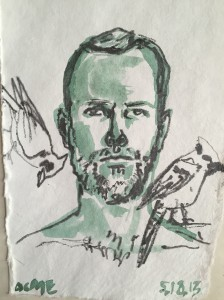 Self-portrait, watercolor, pencil, 5.18.13